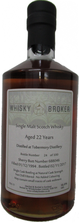 70cl,22yo Distilled at Tobermory