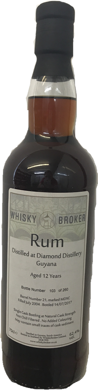 70cl, 12yo Rum Distilled at Diamond Distillery, Guyana