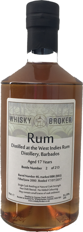 70cl, 17yo Rum Distilled at West Indies Rum Distillery