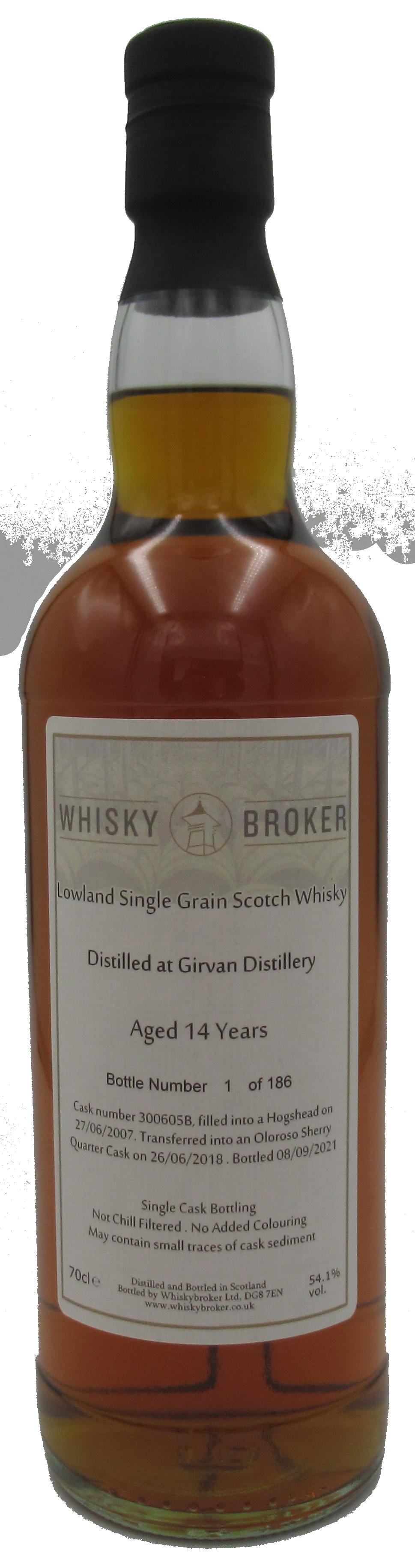 70cl, 14yo Distilled at Girvan Distillery 300605B