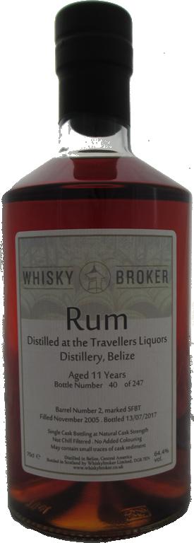 70cl, 11yo Distilled at Travellers Liquors Distillery, Belize