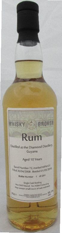 70cl, 10yo Guyana Rum Distilled at Diamond Distillery